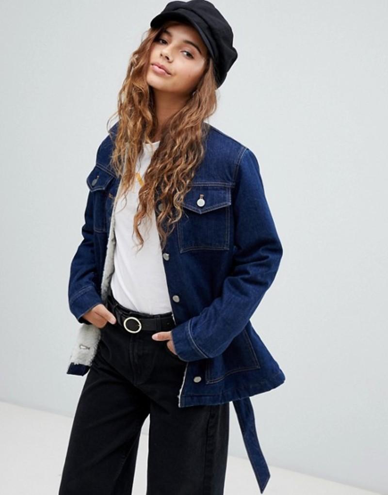 エイソス レディース ジャケット・ブルゾン アウター ASOS DESIGN denim belted jacket in indigo with fleece lining Blue