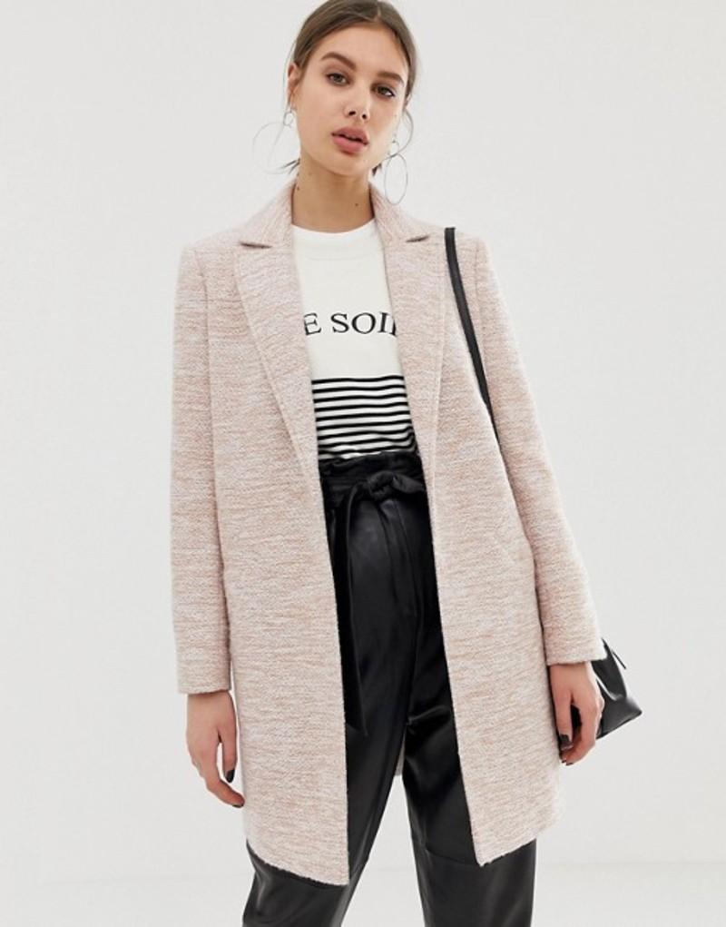 エイソス レディース コート アウター ASOS DESIGN textured slim coat Pink