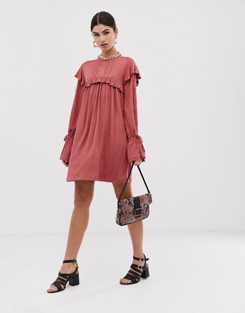 エイソス レディース ワンピース トップス ASOS DESIGN high neck lace insert crinkle swing dress Rose