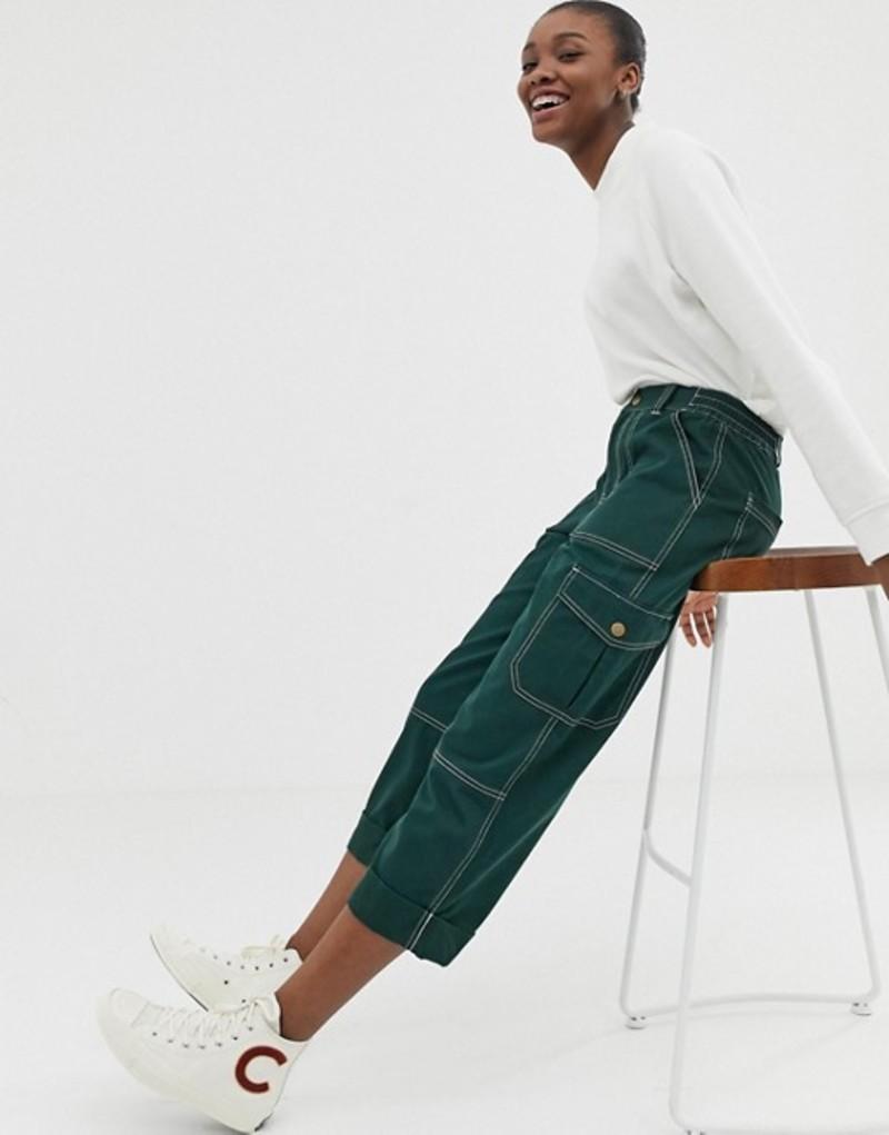 エイソス レディース カジュアルパンツ ボトムス ASOS DESIGN straight leg combat pants with top contrast stitch Green