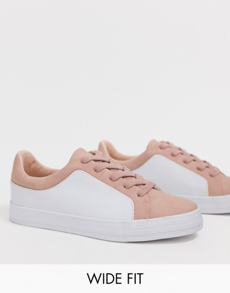 エイソス レディース スニーカー シューズ ASOS DESIGN Wide Fit Vanish lace up sneakers Pale pink/white