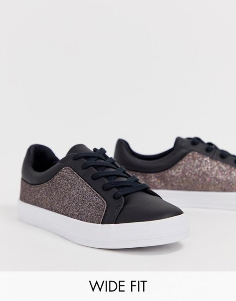 エイソス レディース スニーカー シューズ ASOS DESIGN Wide Fit Vanish lace up sneakers Glitter/black