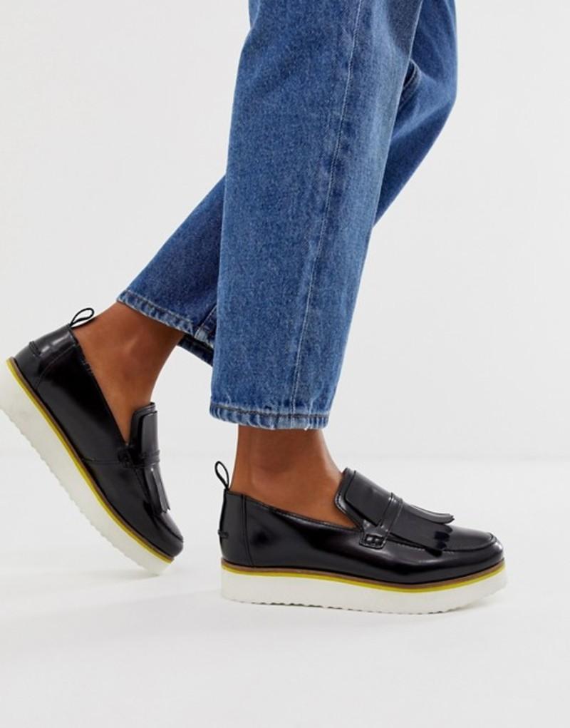 エイソス レディース パンプス シューズ ASOS DESIGN Mimi leather flatform loafers in black Black