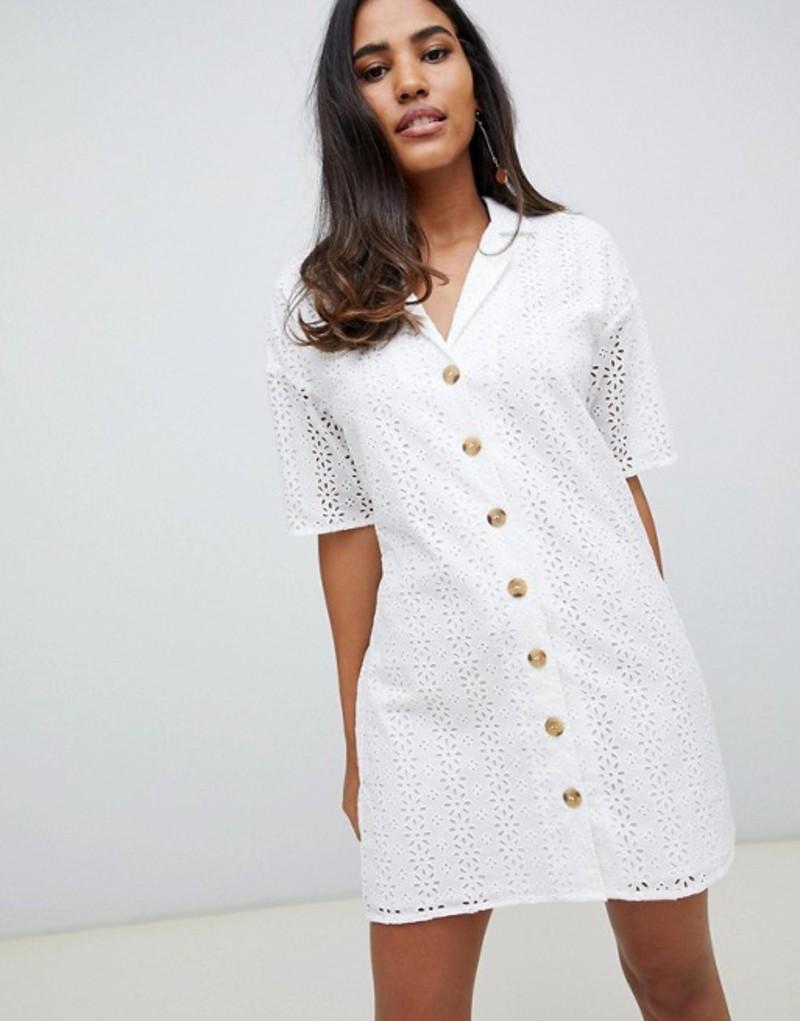エイソス レディース ワンピース トップス ASOS DESIGN button through broderie mini shirt dress White