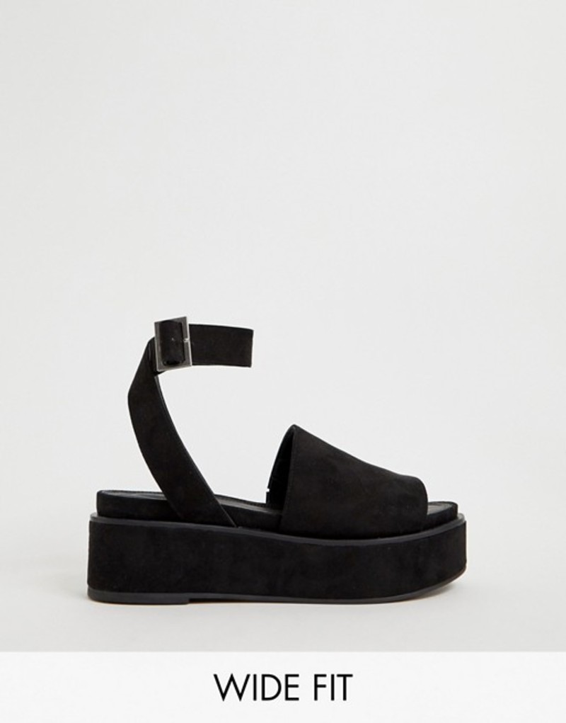 エイソス レディース サンダル シューズ ASOS DESIGN Wide Fit Taylor flatform sandals Black