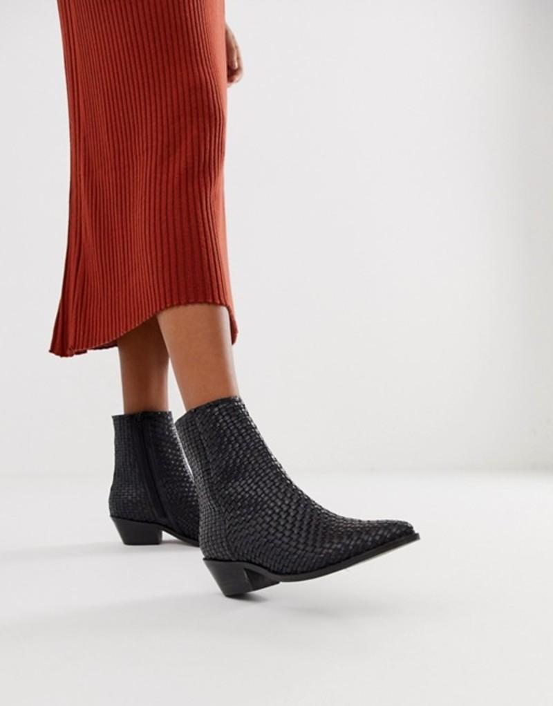 エイソス レディース ブーツ・レインブーツ シューズ ASOS DESIGN Austin leather woven boots Black