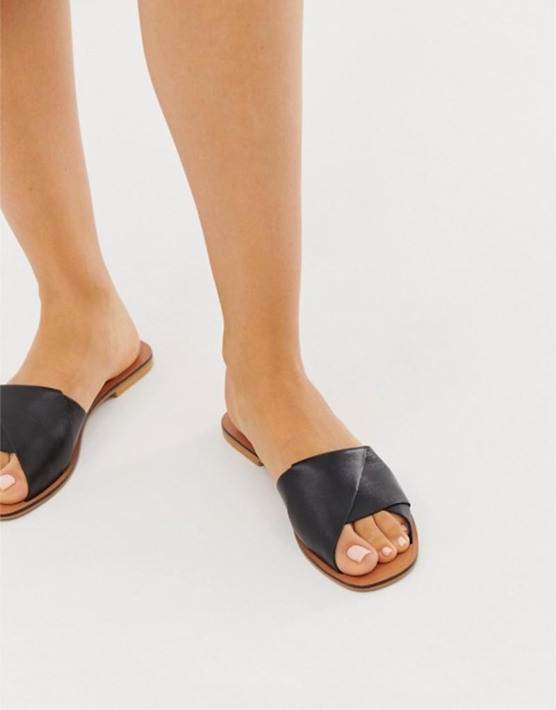 エイソス レディース サンダル シューズ ASOS DESIGN Favoured leather flat sandals Black
