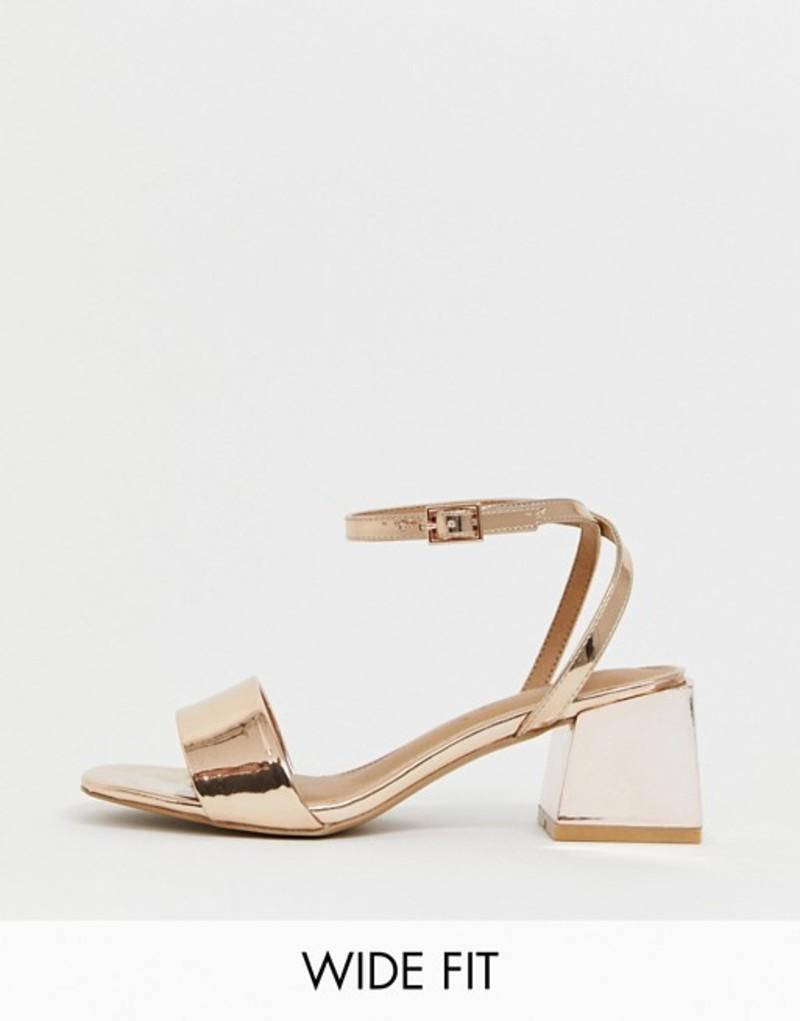 エイソス レディース ヒール シューズ ASOS DESIGN Wide Fit Honeywell block heeled sandals Rose gold