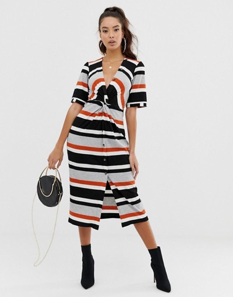 エイソス レディース ワンピース トップス ASOS DESIGN stripe rib twist front midi dress with button detail Stripe
