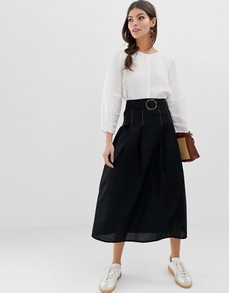 エイソス レディース スカート ボトムス ASOS DESIGN high waist midi skirt with tortiose shell buckle and contrast stitching Black