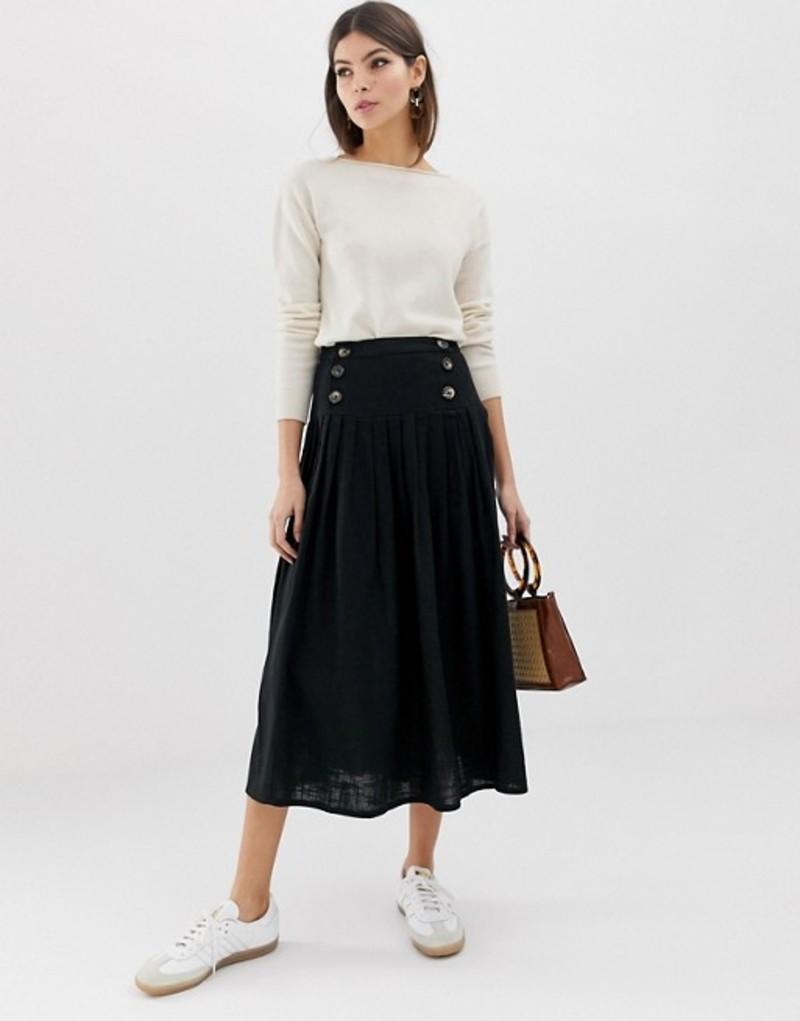 エイソス レディース スカート ボトムス ASOS DESIGN textured drop waist midi skirt Black