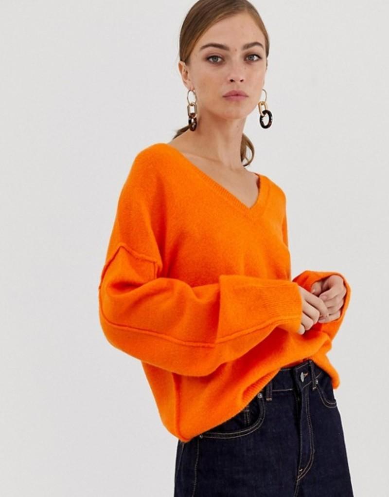 エイソス レディース ニット・セーター アウター ASOS DESIGN fluffy sweater with v neck Orange
