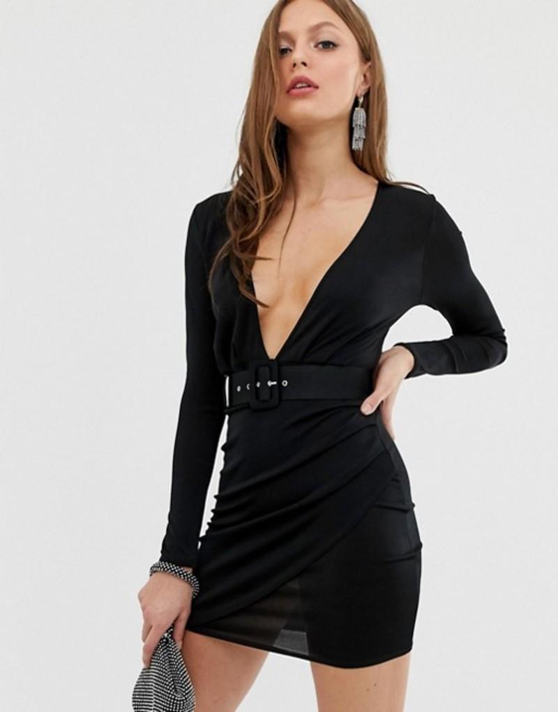 エイソス レディース ワンピース トップス ASOS DESIGN Plunge Belt Detail Mini Dress Black