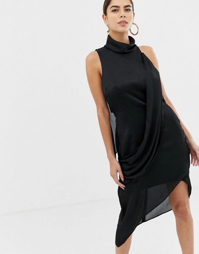 エイソス レディース ワンピース トップス ASOS DESIGN high neck crossover drape midi dress Black