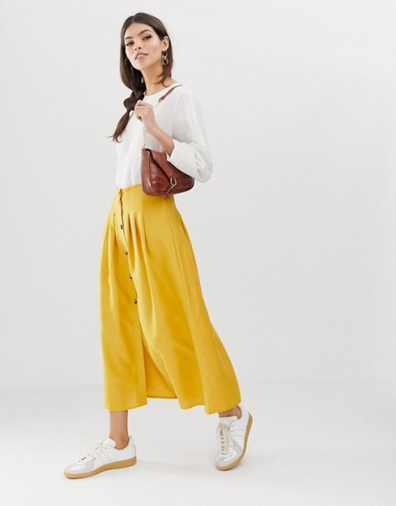 エイソス レディース スカート ボトムス ASOS DESIGN midi skirt with high waist seams Mustard