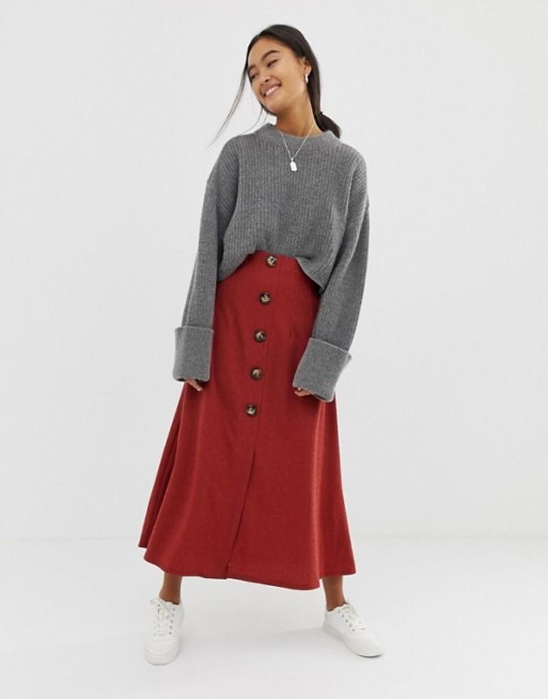 エイソス レディース スカート ボトムス ASOS DESIGN textured midi skirt with button front Rust