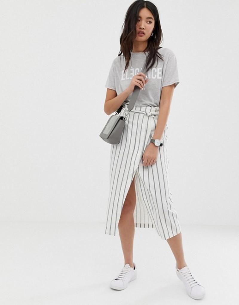 エイソス レディース スカート ボトムス ASOS DESIGN linen column midi skirt with paperbag waist in stripe Stripe