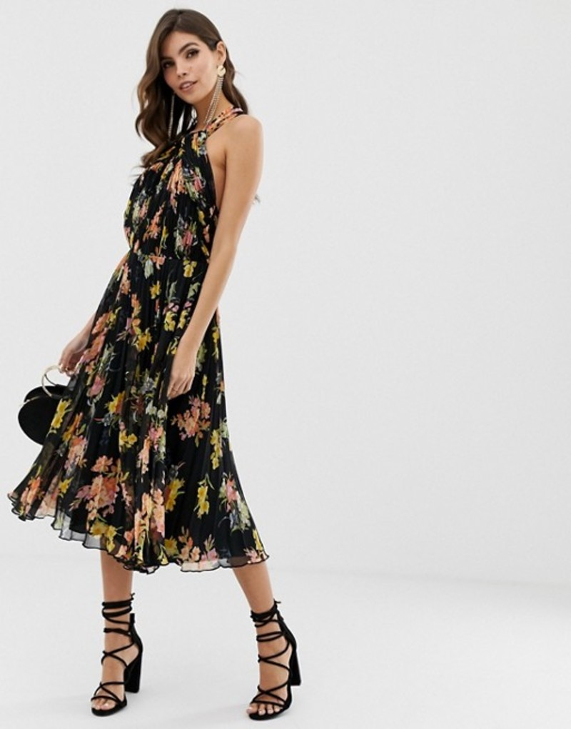 エイソス レディース ワンピース トップス ASOS DESIGN pleated bodice halter midi dress in floral print Floral print