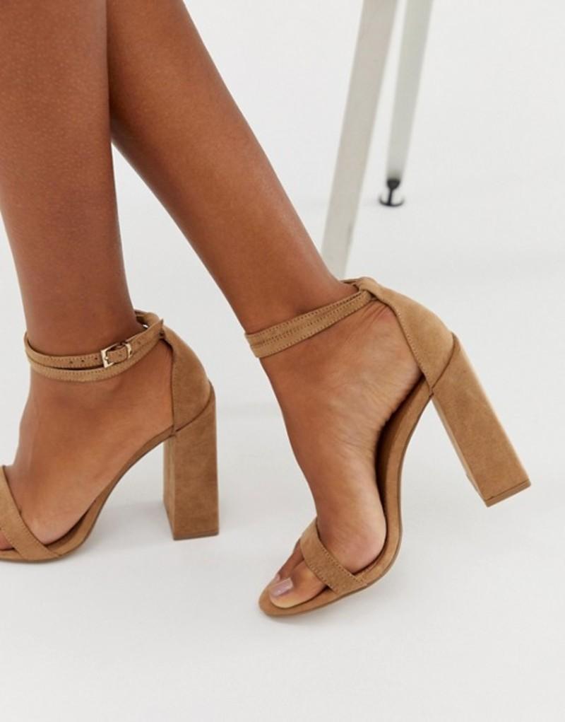 エイソス レディース ヒール シューズ ASOS DESIGN Highlight barely there block heeled sandals Warm beige