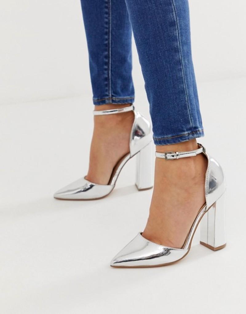 エイソス レディース ヒール シューズ ASOS DESIGN Pebble pointed high heels Silver