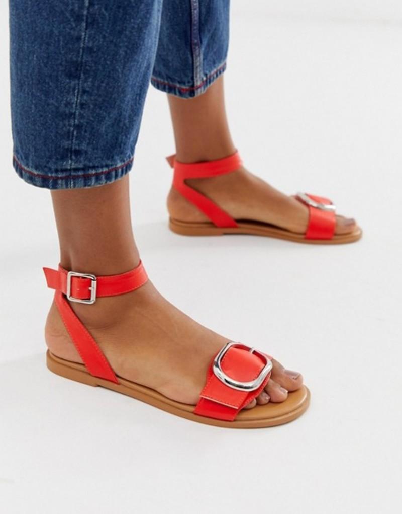 エイソス レディース サンダル シューズ ASOS DESIGN Flora flat sandals in red Red