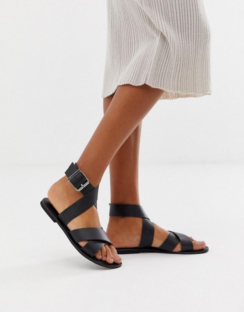 エイソス レディース サンダル シューズ ASOS DESIGN Flossy leather cross strap flat sandals Black