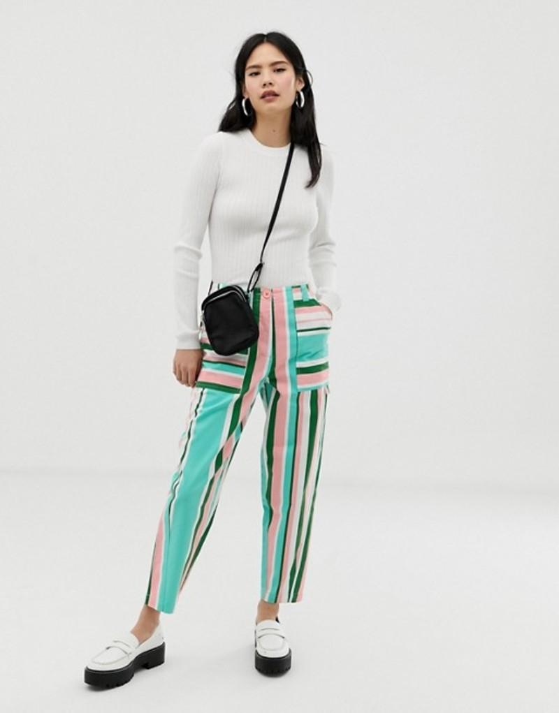 エイソス レディース カジュアルパンツ ボトムス ASOS DESIGN peg pants in 70s stripe Stripe
