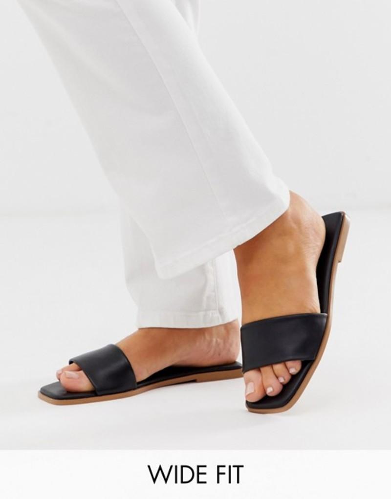 エイソス レディース サンダル シューズ ASOS DESIGN Wide Fit Fleeky mule sliders Black