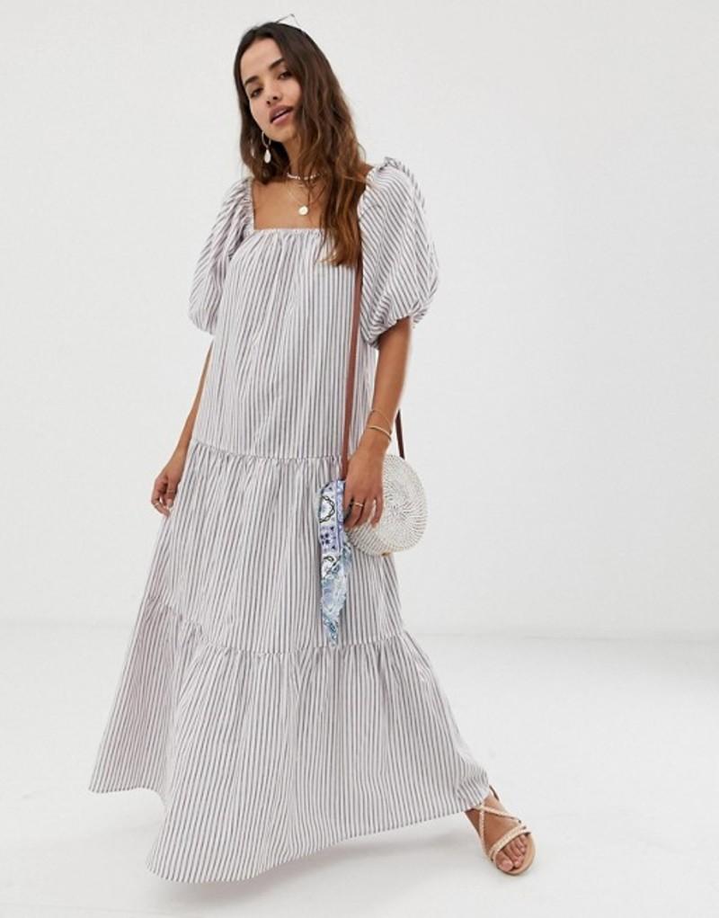 エイソス レディース ワンピース トップス ASOS DESIGN tiered maxi dress in stripe with puff sleeve Stripe