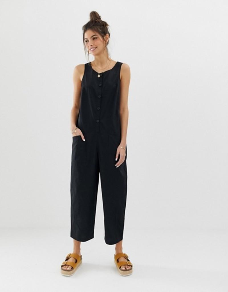 エイソス レディース ワンピース トップス ASOS DESIGN sleeveless button front boilersuit Black