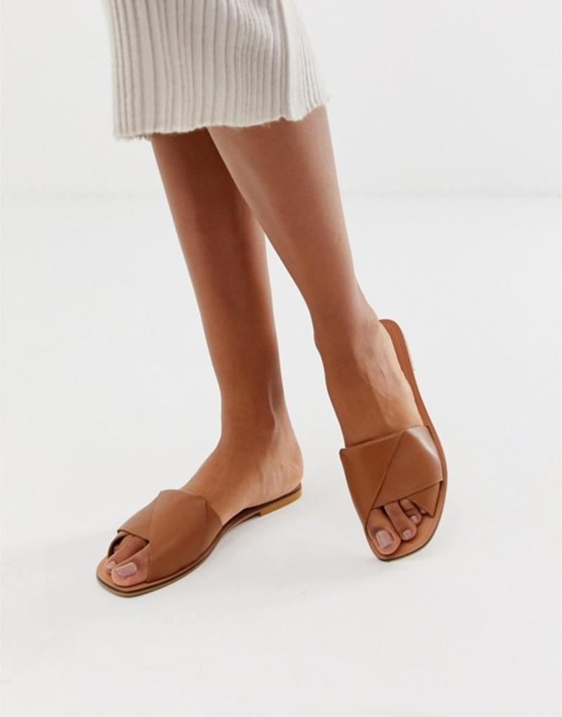 エイソス レディース サンダル シューズ ASOS DESIGN Favoured leather flat sandals Tan