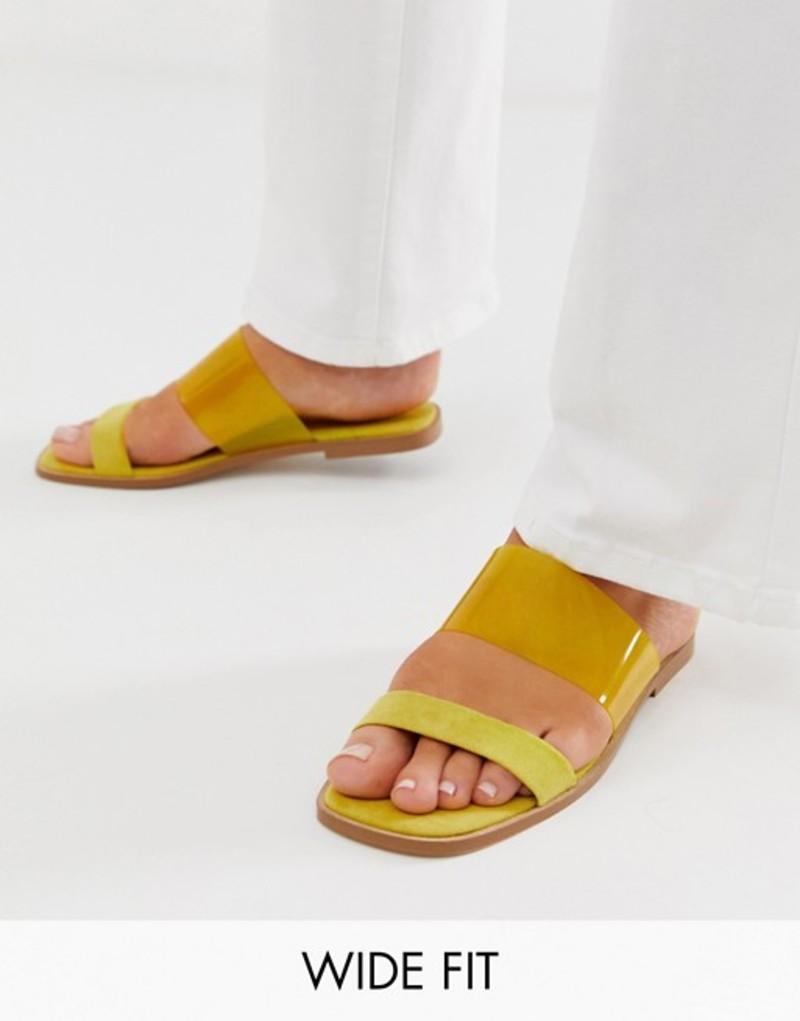 エイソス レディース サンダル シューズ ASOS DESIGN Wide Fit Flirt clear slides Yellow
