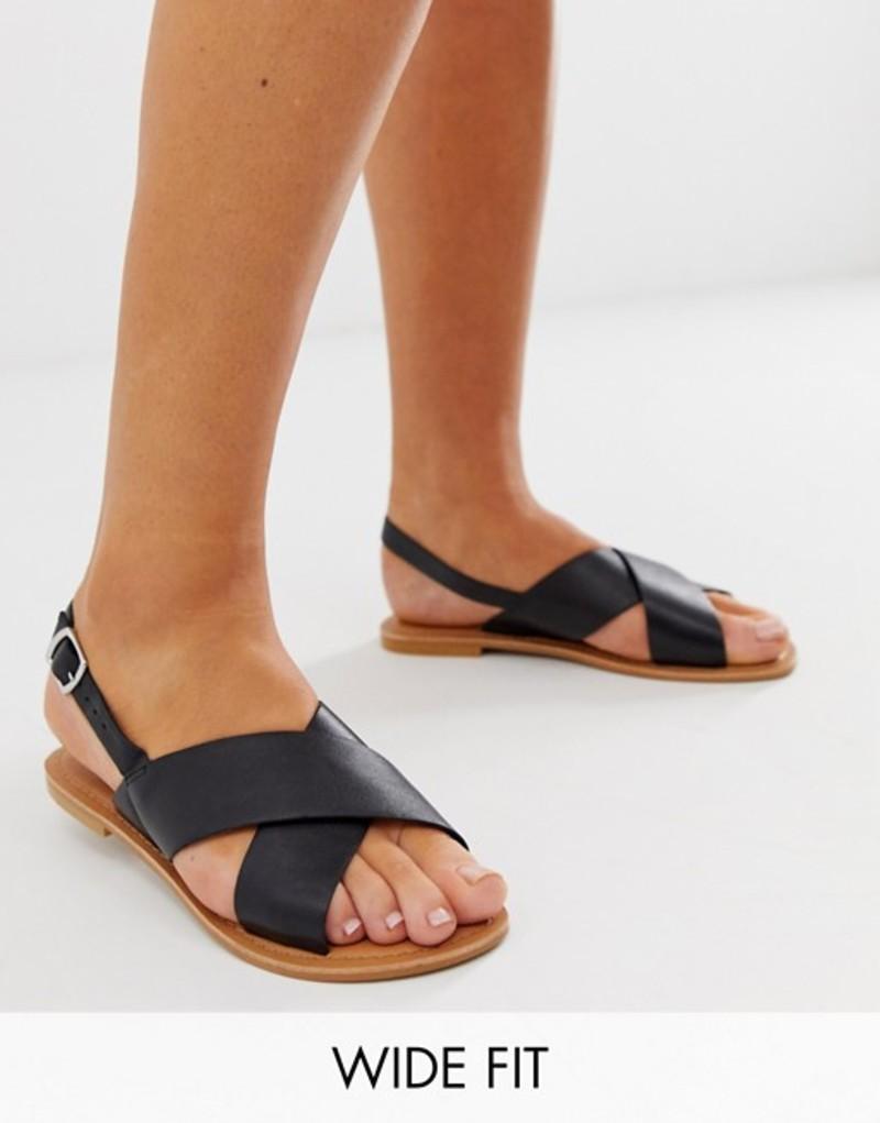 エイソス レディース サンダル シューズ ASOS DESIGN Wide Fit Valid leather cross strap flat sandals Black