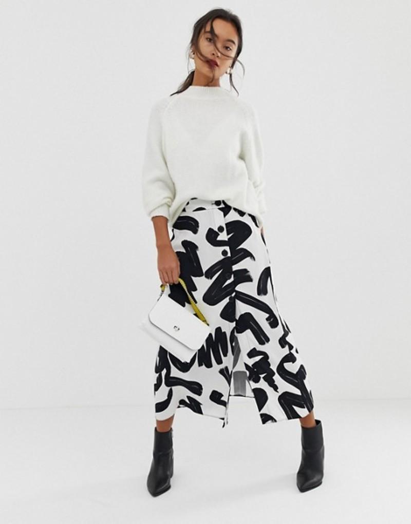 エイソス レディース スカート ボトムス ASOS DESIGN mono abstract print midi skirt with side button front Mono