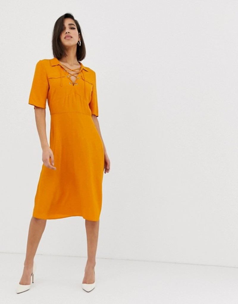 エイソス レディース ワンピース トップス ASOS DESIGN midi shirt dress with lace up front Ochre