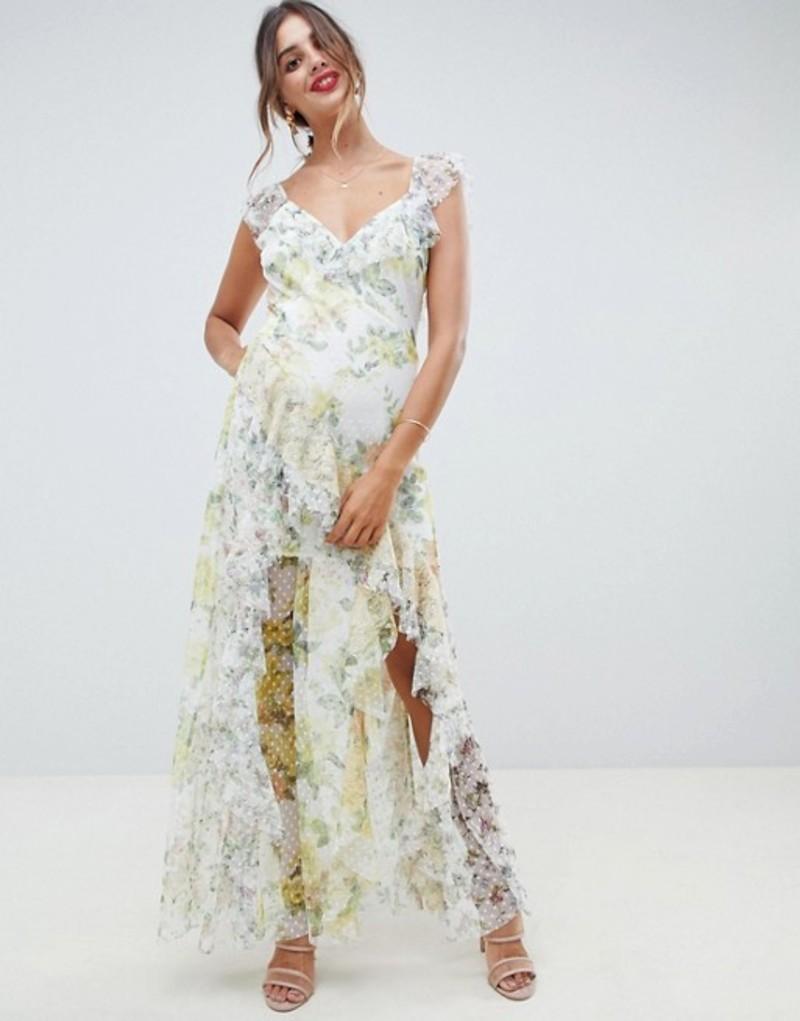 エイソス レディース ワンピース トップス ASOS DESIGN ruffle maxi dress in floral dobby mesh with lace Light floral