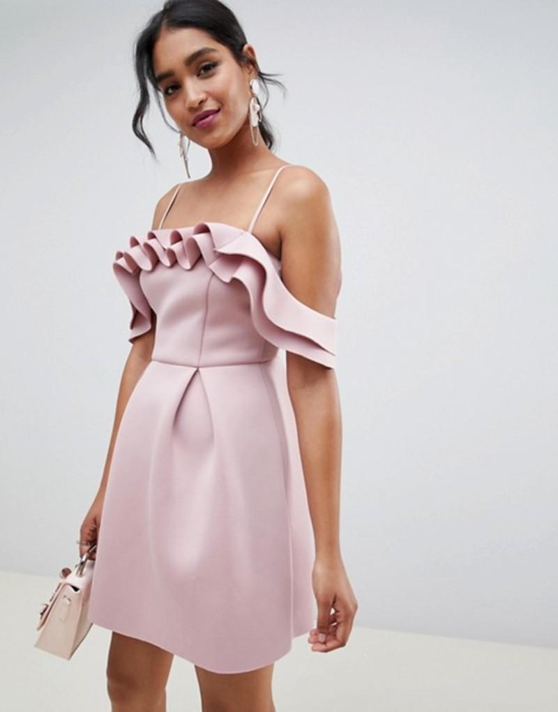 エイソス レディース ワンピース トップス ASOS DESIGN Strappy Ruffle Scuba Prom Mini Dress Blush