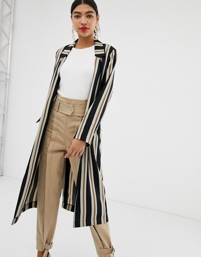 エイソス レディース ジャケット・ブルゾン アウター ASOS DESIGN stripe duster coat Multi