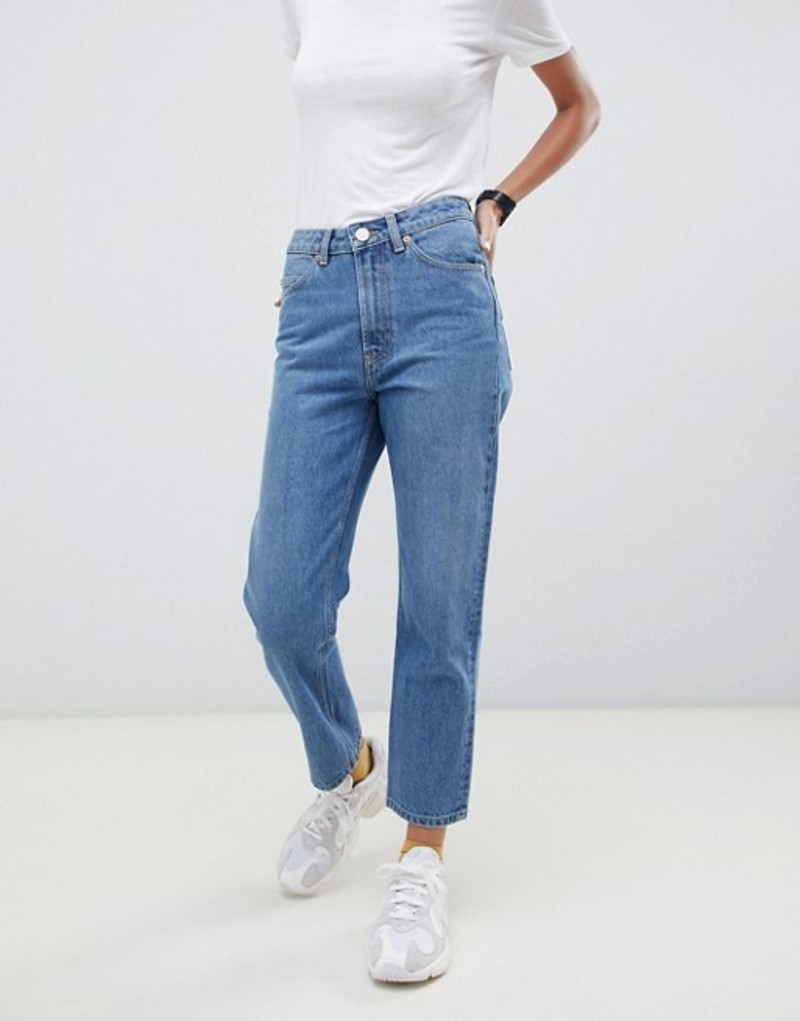 エイソス レディース デニムパンツ ボトムス ASOS DESIGN Recycled Florence authentic straight leg jeans in mid vintage blue Mid blue
