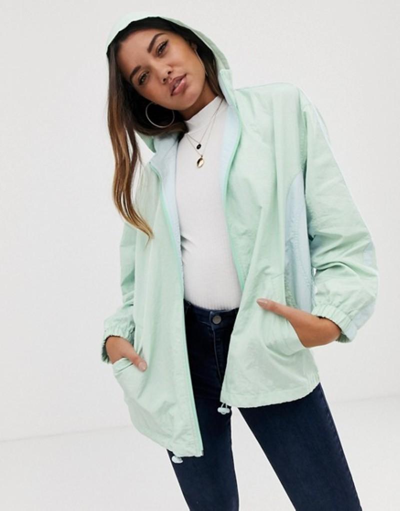 エイソス レディース ジャケット・ブルゾン アウター ASOS DESIGN color block zip through anorak jacket Mint
