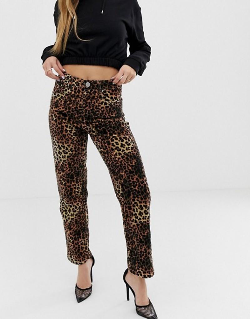 エイソス レディース デニムパンツ ボトムス ASOS DESIGN Farleigh high waisted straight leg in leopard velvet Leopard