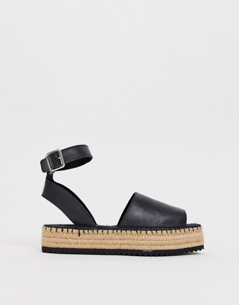 エイソス レディース サンダル シューズ ASOS DESIGN Jacoba leather flatform espadrilles Black leather