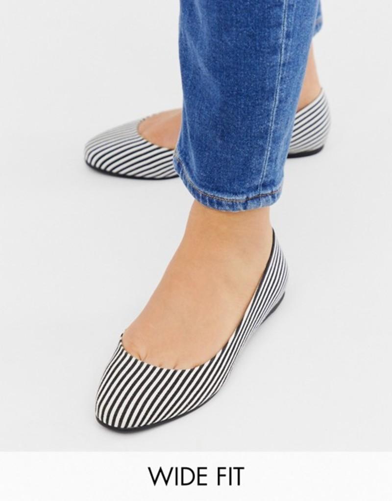 エイソス レディース パンプス シューズ ASOS DESIGN Wide Fit Lassie ballet flats in stripe Stripe