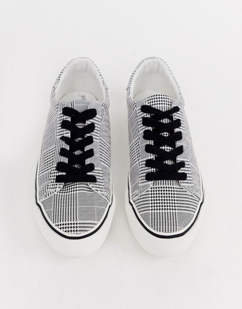 エイソス レディース スニーカー シューズ ASOS DESIGN Diffuse lace up sneakers Houndstooth