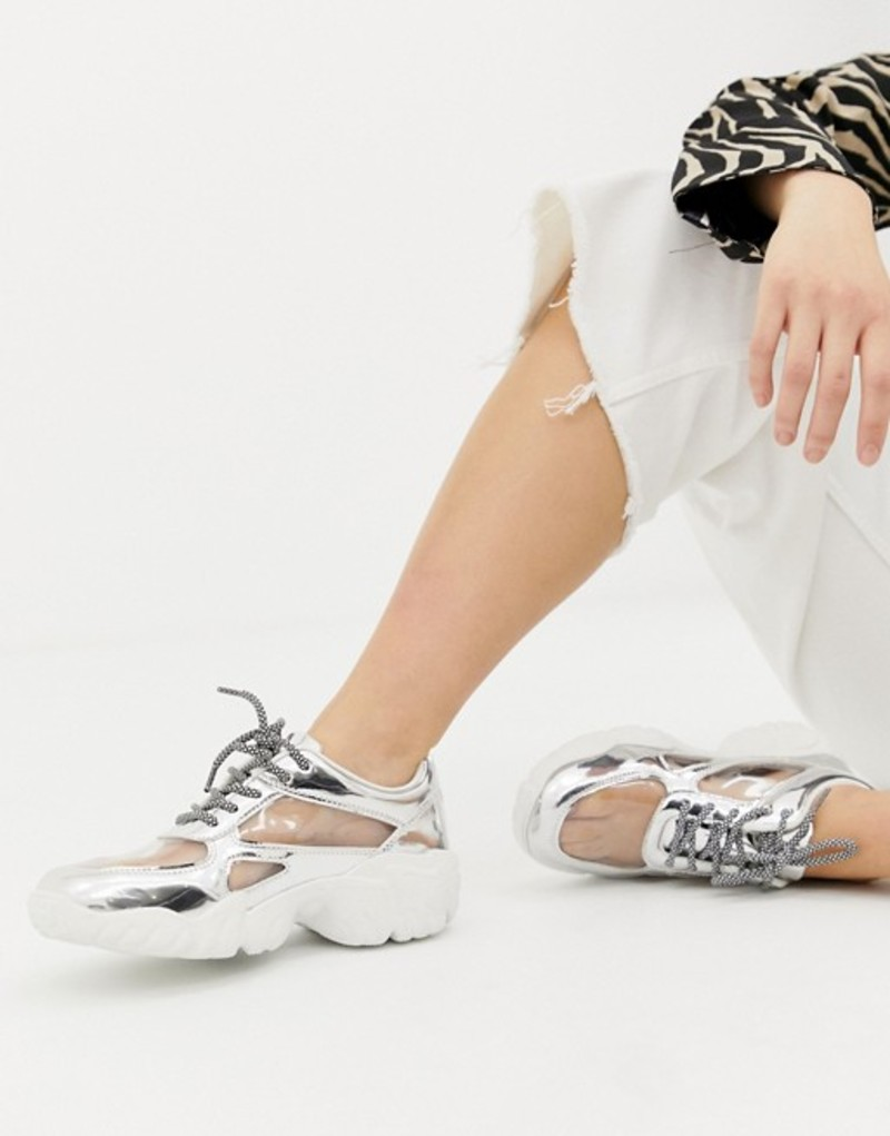 エイソス レディース スニーカー シューズ ASOS DESIGN Drench clear lace up sneakers Silver/clear