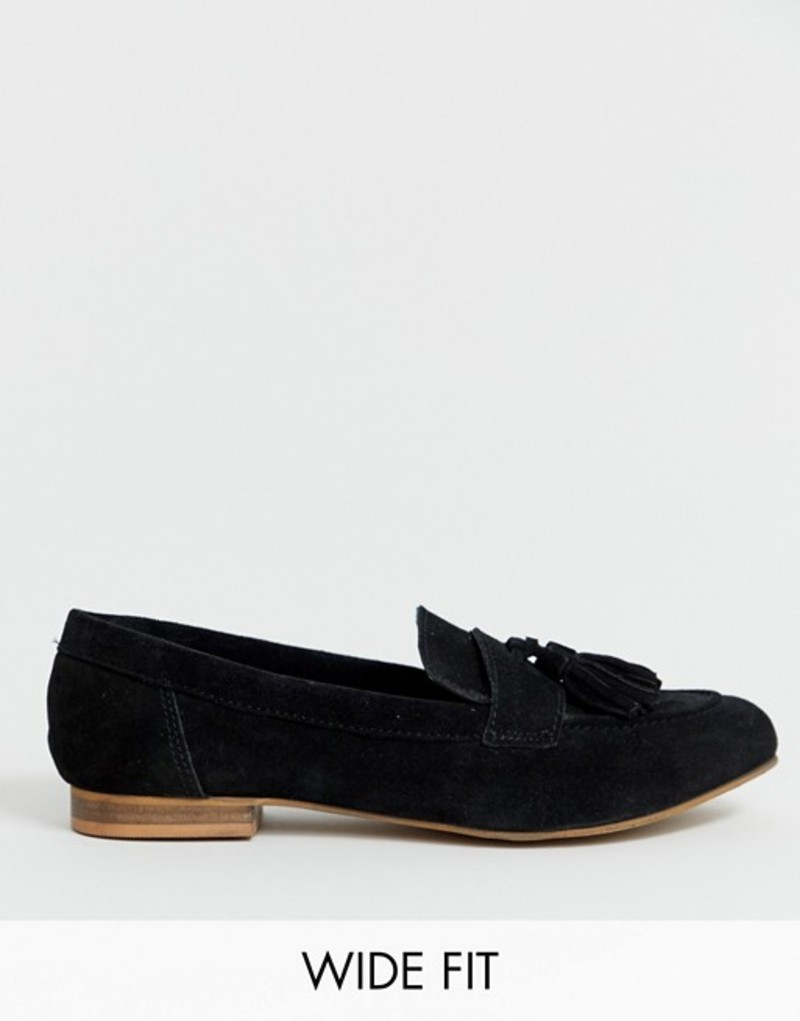 エイソス レディース パンプス シューズ ASOS DESIGN Wide Fit Message suede tassel loafers Black