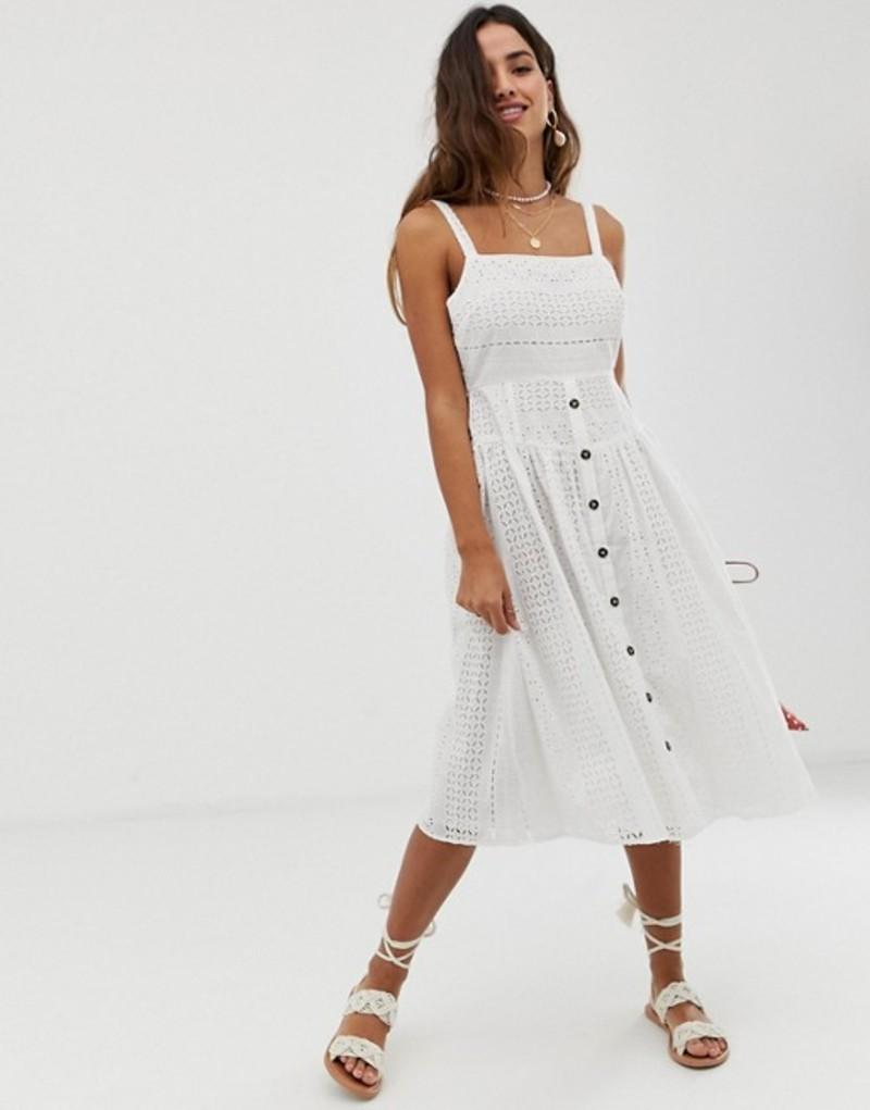 エイソス レディース ワンピース トップス ASOS DESIGN broderie midi sundress with button front White