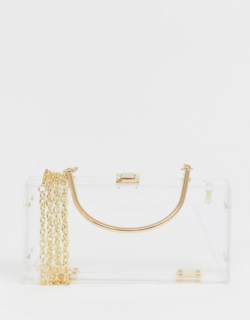 エイソス レディース クラッチバッグ バッグ ASOS DESIGN clear plastic clutch bag with metal handle Clear