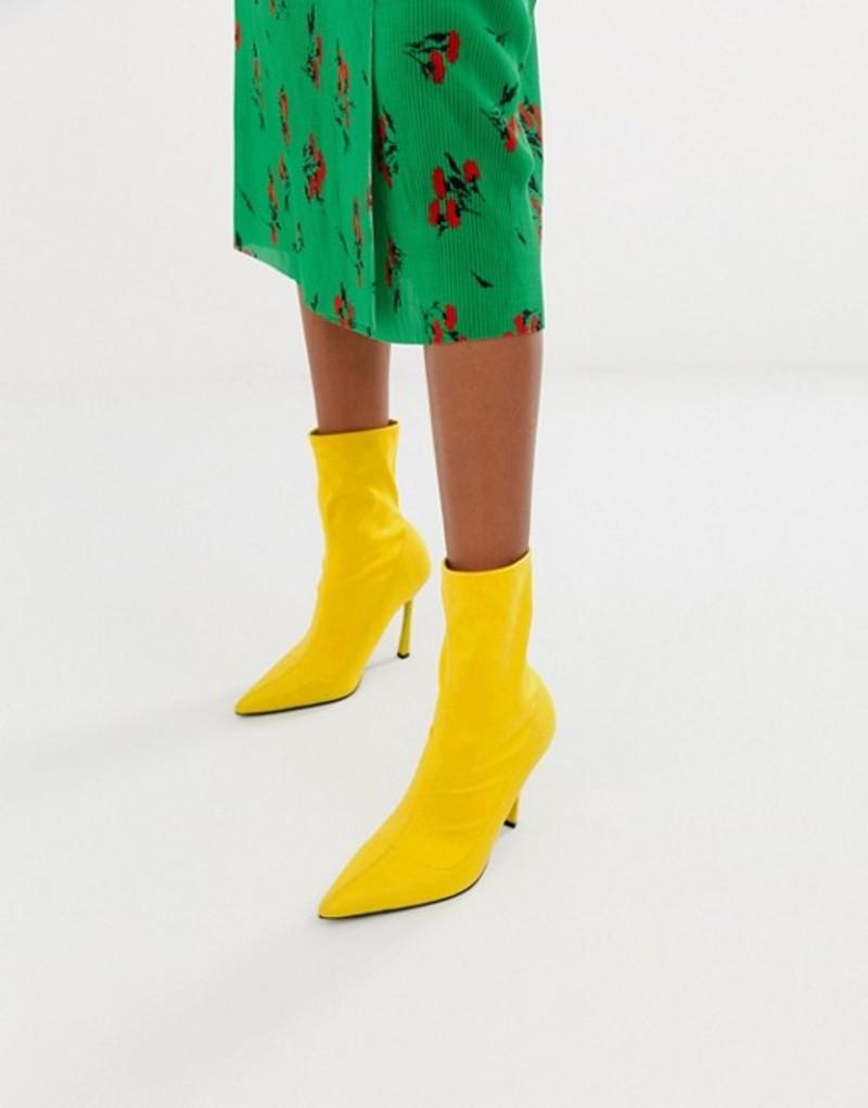 エイソス レディース ブーツ・レインブーツ シューズ ASOS DESIGN Esme pointed heeled sock boots Yellow