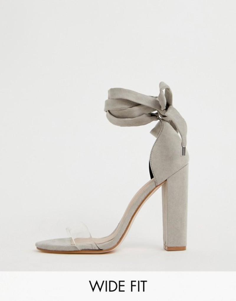 エイソス レディース ヒール シューズ ASOS DESIGN Wide Fit Witness clear barely there block heeled sandals Pale grey